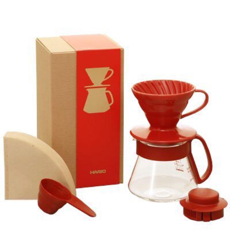 HARIO 咖啡濾器 V60 同色系 款VDS 3012R 紅陶瓷濾杯耐熱玻璃壺濾紙