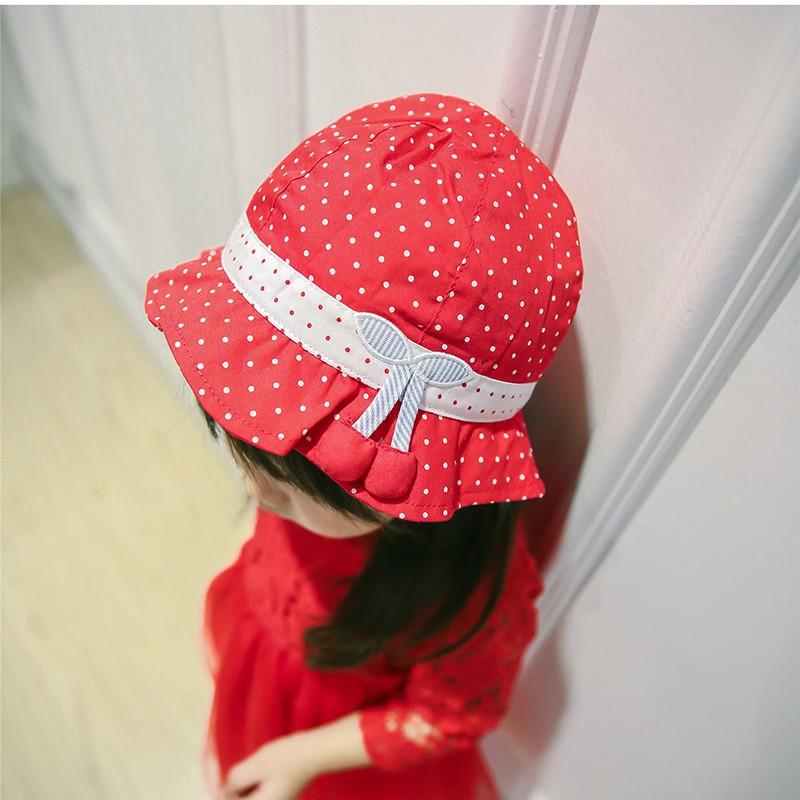 春夏女童紅色點點櫻桃女童荷葉邊遮陽帽帽子太陽帽