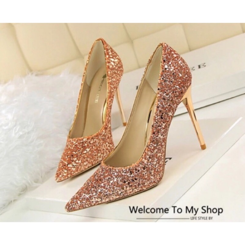 春秋 女鞋細跟單鞋淺金亮片婚鞋新娘鞋淺口性感尖頭高跟鞋