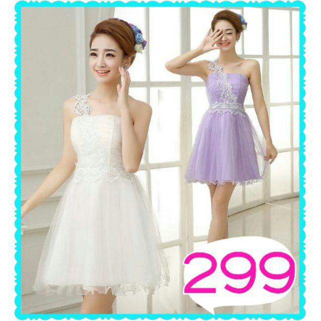 白色紫色單肩伴娘服洋裝小禮服
