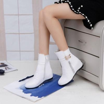 ☞☞☞ギケグn 內增高短靴女春秋單靴平底坡跟女靴子高跟學生雪地靴短筒白色冬靴