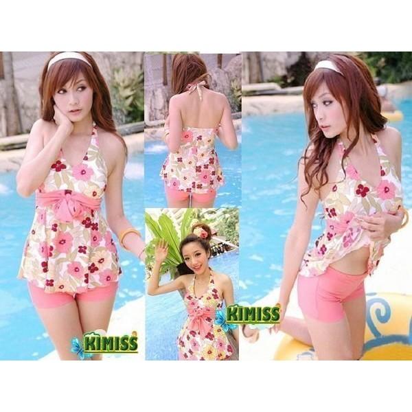 滿版花朵風格海邊戲水泡湯比基尼泳衣兩件式泳裝kiwi 小舖~GK013 ~