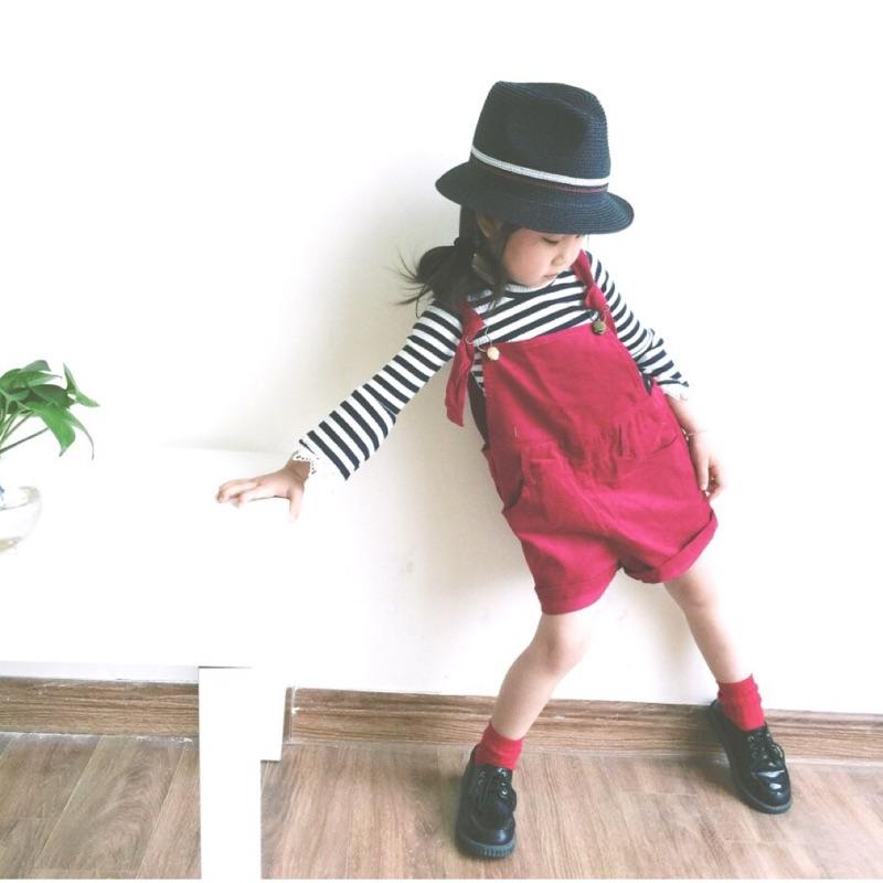 蓁誠 女童女寶兒童寶寶小童可愛復古口袋燈芯絨吊帶褲短褲寬鬆