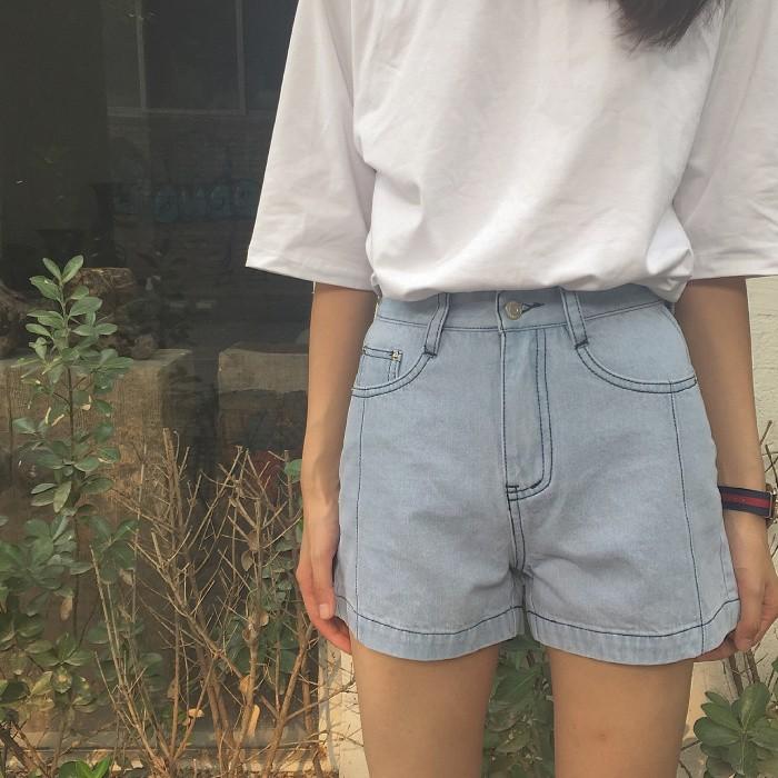 ~  ~ 港味復古寬鬆顯瘦高腰牛仔闊腿褲工裝明線短褲熱褲