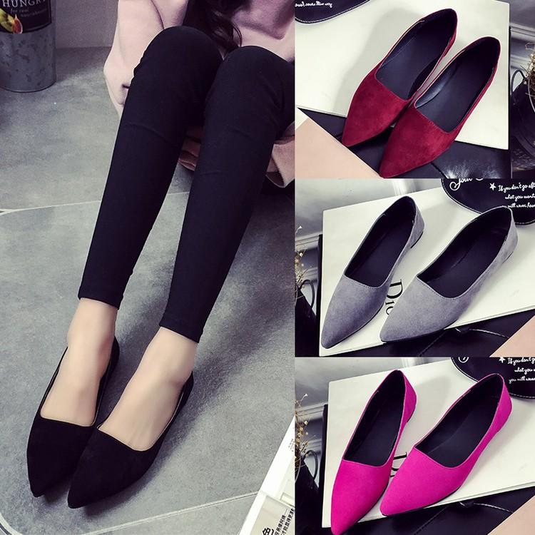 單色平底鞋平跟尖頭淺口性感女鞋婚鞋工作鞋娃娃鞋玫紅黑灰酒紅