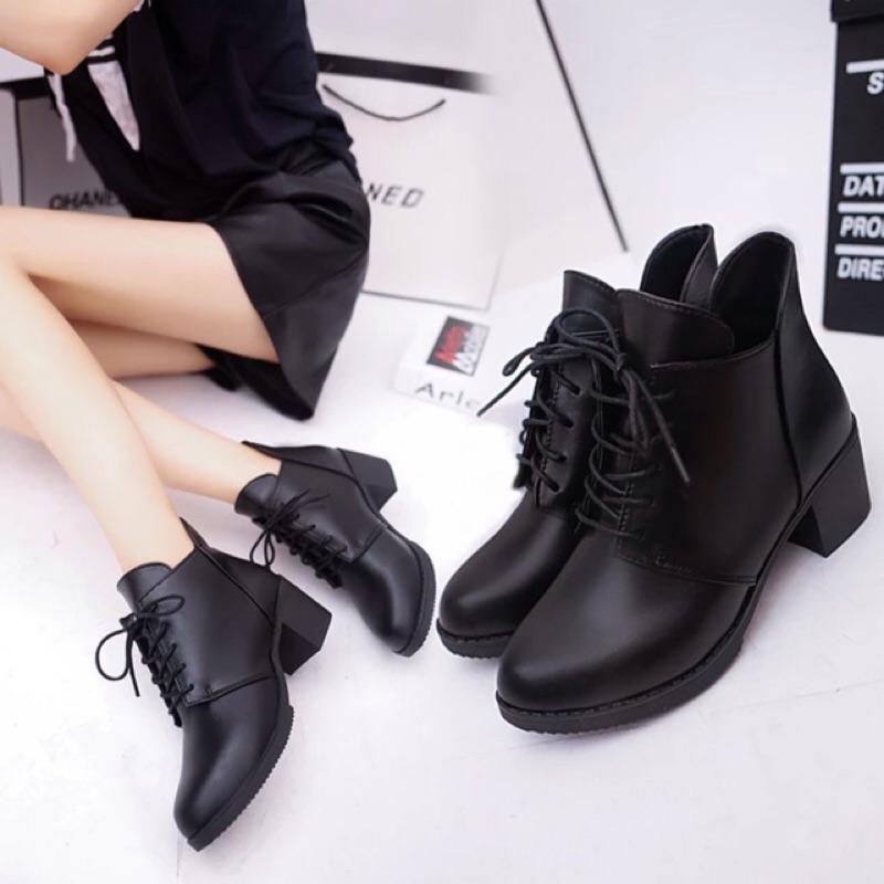 馬丁靴英倫風短靴粗跟皮靴踝靴女鞋