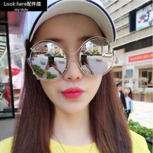 Look here 館2016chloe 同款圓形墨鏡超大雙環圓圈圈太陽眼鏡金屬裸空太陽鏡