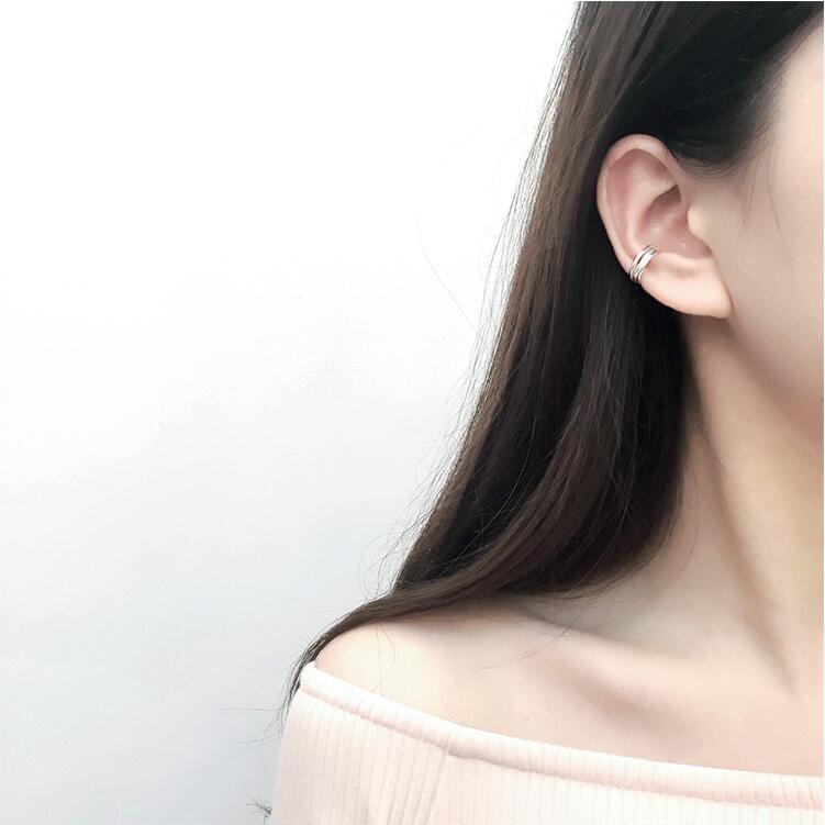~耳夾~日韓學生雙層耳夾†簡約氣質百搭 耳骨夾†S925 純銀耳夾