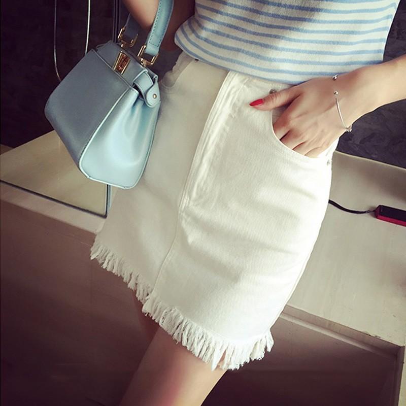 ❤ ❤春裝 簡約百搭流蘇下擺高腰顯瘦A 字白色牛仔半身裙短裙女