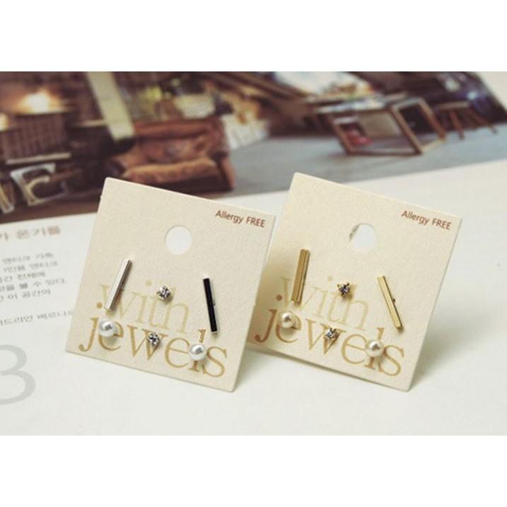 韓國爆款 甜美水鑽珍珠長條耳針款六件套組F05012 髮帶髮圈Mani store 韓系飾