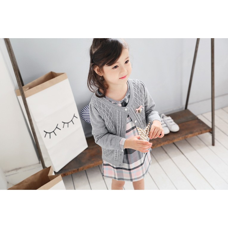 ~Mr Soar ~F213  韓國style 女童氣質款粉灰格紋長袖連衣裙