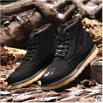 男鞋加厚棉鞋雪地靴短靴皮毛一體英倫高幫休閒鞋加絨皮靴子潮