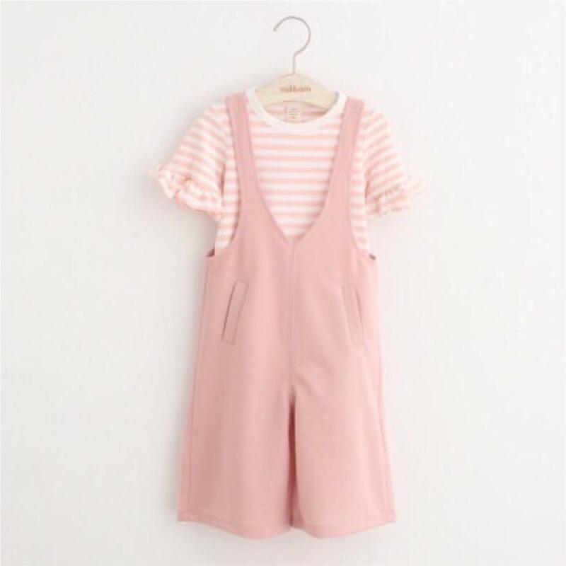 條紋花邊上衣粉色揹帶褲套裝