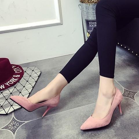 尖頭單鞋女春秋 性感細跟高跟鞋絨面簡約淺口婚鞋職業中跟女鞋