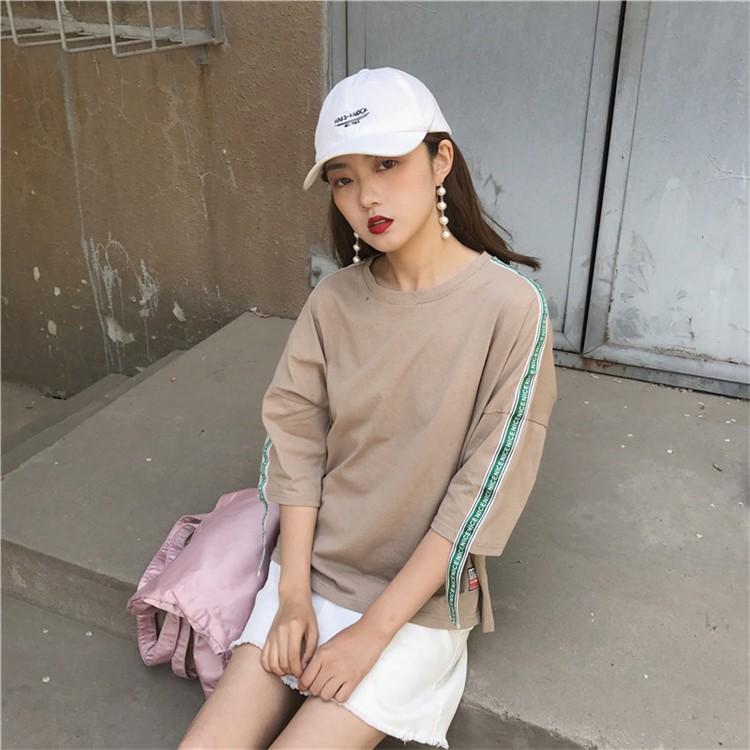 ~ 實拍~正韓T 恤2017  女生衣著寬鬆簡約顯瘦 甜美學院風印花 寬鬆圓領七分袖T 恤