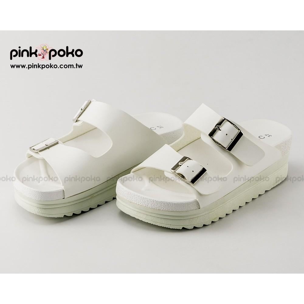 拖鞋~PINKPOKO 粉紅波可~簡約寬版雙釦環皮質休閒厚底拖鞋2 色1644