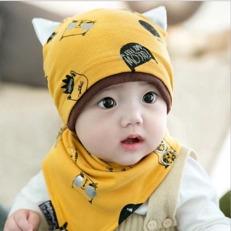 ✨韓國2 件組帽子口水巾棉帽睡覺帽三角巾嬰幼兒兩件套圍兜圍巾套頭帽棉帽貓咪兩件組