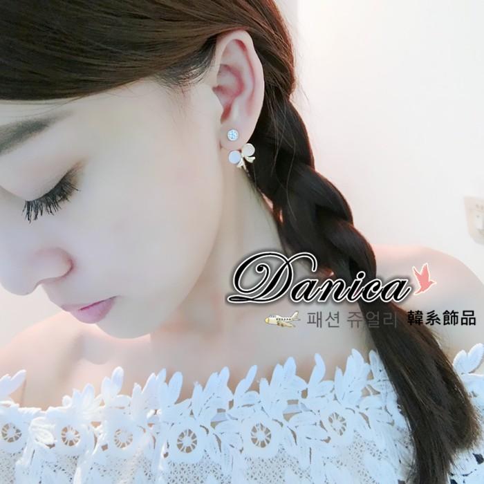耳環 正韓 氣質甜美公主貓眼蝴蝶結水鑽後掛2 用耳環2 色K90155 Danica 韓系