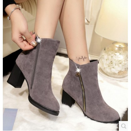 2016 秋 短靴磨砂粗跟騎士靴大碼中筒靴子女式高跟馬靴女鞋