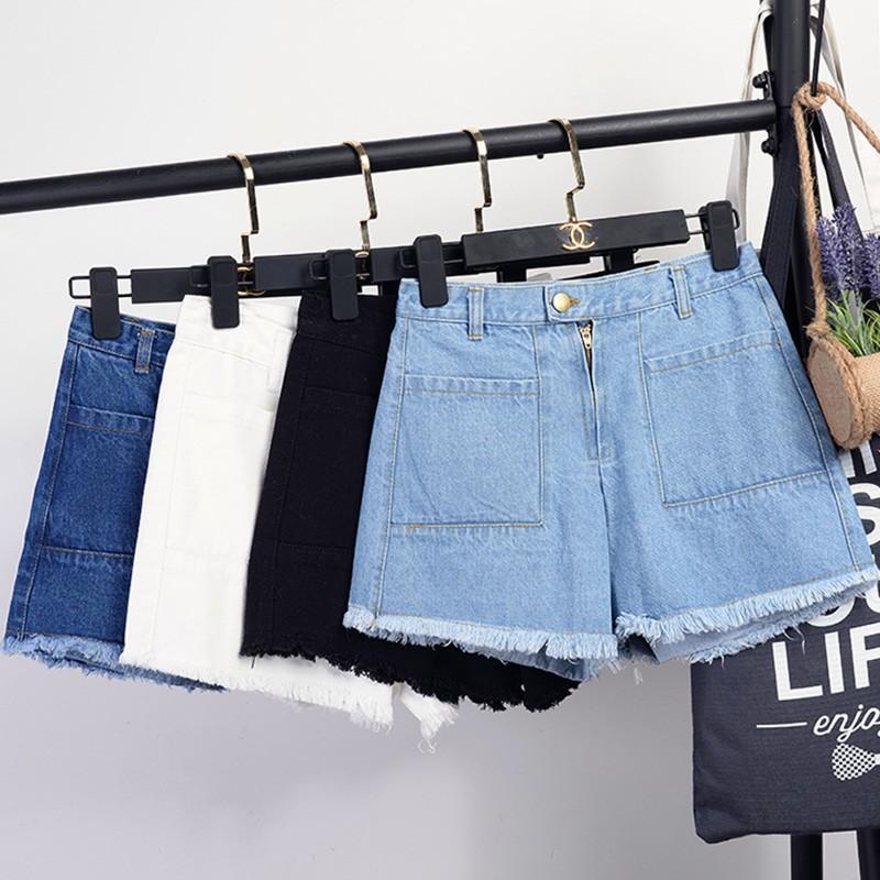【 】牛仔短褲高腰牛仔褲短褲寬鬆大碼毛邊 顯瘦 熱褲純色直筒短褲休閒學生