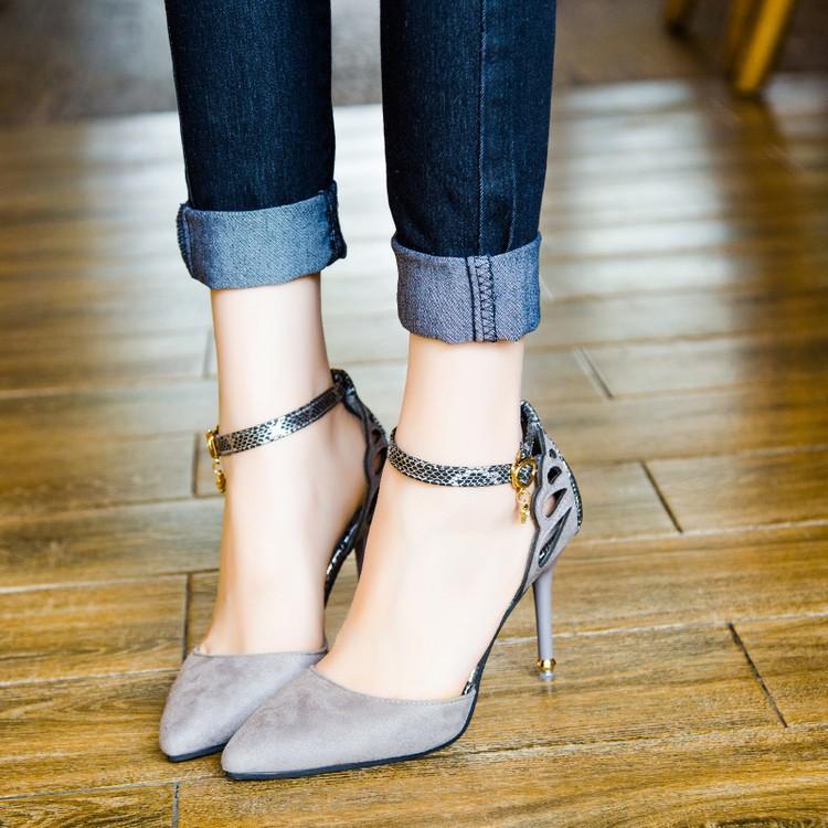 春夏新品女單鞋 性感淺口女鞋中空尖頭高跟鞋