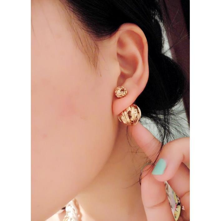 日 名媛氣質風雙面金屬拉絲水鑽大小珍珠雙珍珠耳環耳針小資女明星