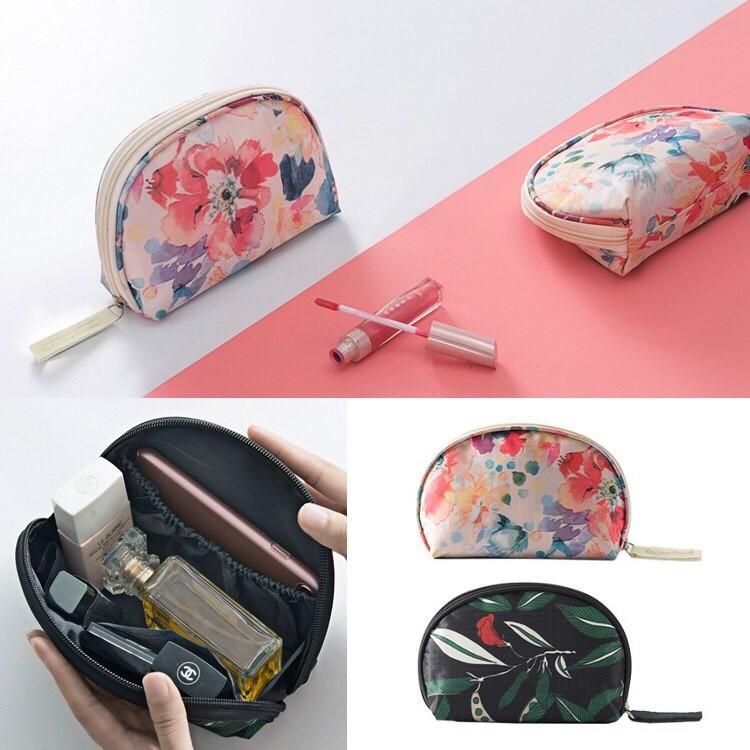 韓國官網同款紅鶴碎花 清新印花款零錢包化妝包數碼包隨身包盥洗包筆袋收納旅行