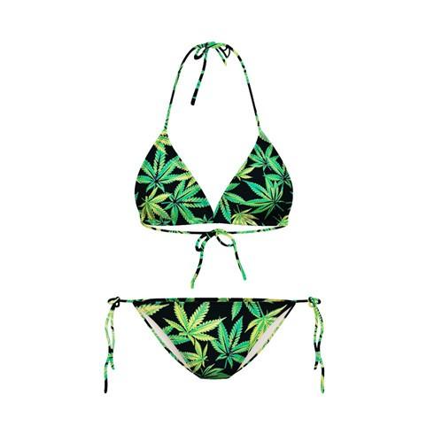 2016  氣質比基尼性感溫泉泳衣小胸聚攏bikini 綠色楓葉印花大麻葉兩件式三點式