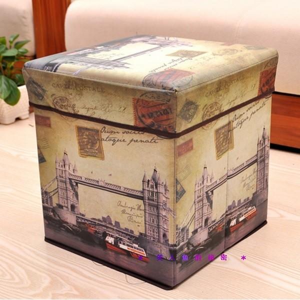 英倫風塔橋沙發矮凳收納箱復古仿古工業風沙發摺疊收納箱雜誌整理盒兒童玩具儲物椅收納椅凳✻美人