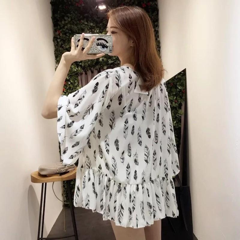 精緻 潮流館韓系下擺褶皺羽毛印花外套罩衫雪紡衫