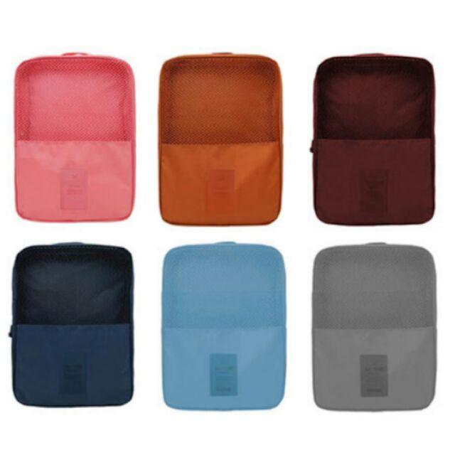 ♡ 旅行多 3 格收納鞋袋可收納三雙鞋深藍天藍玫酒紅橘灰