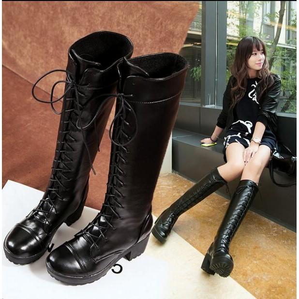 春夏 cosplay 黑色高筒靴系帶粗跟女靴子中跟模仿馬丁靴長靴內增高單靴縷空網靴長筒靴中