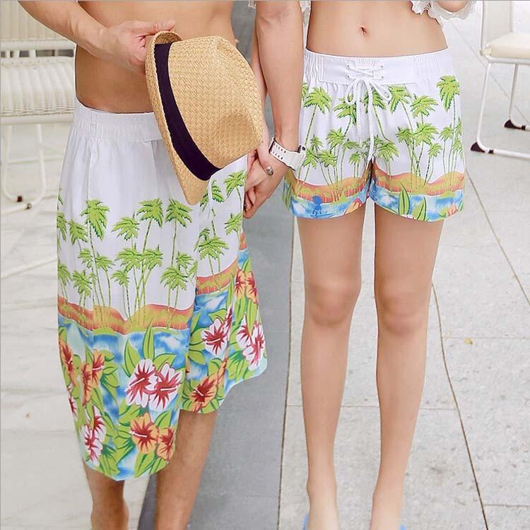 2015 白底綠椰樹花朵情侶沙灘褲夏男女夏威夷海邊旅游薄短褲情侶泳裝情侶裝三件式泳裝三件式