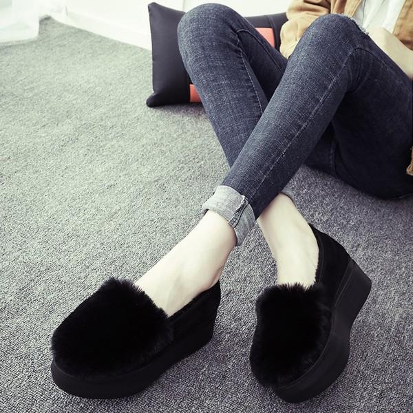 2016  兔毛平底鞋棉鞋女鞋豆豆鞋加絨厚底毛毛鞋中跟單鞋潮