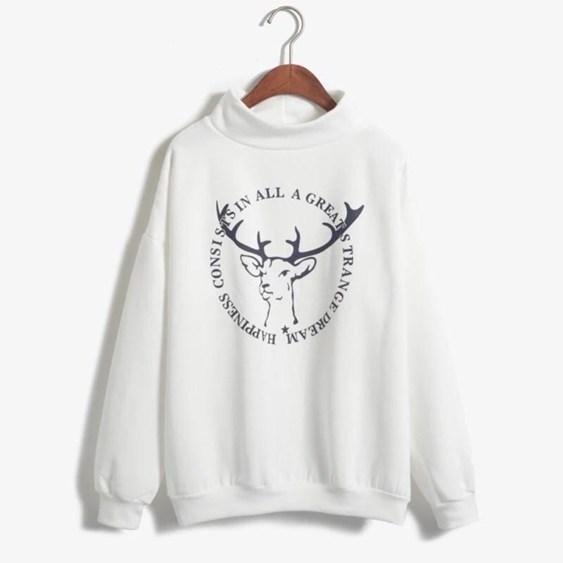 韓國復古小鹿馴鹿字母印花高領抓絨加厚絨衫女白色衛衣