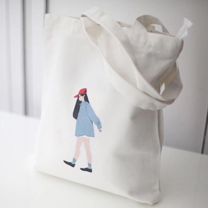 包包簡約日系長髮妹妹卡通帆布包 袋單肩背