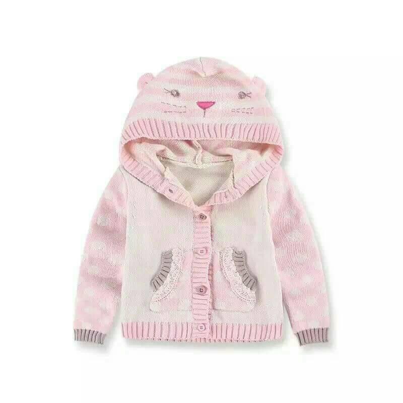 貓咪粉色條紋袖針織薄外套