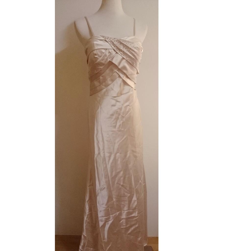 衣櫃細肩帶香檳金絲綢緞面胸前亮珠裝飾長裙晚禮服洋裝有胸墊雙鏈滾邊 立領短版小外套婚禮二件式