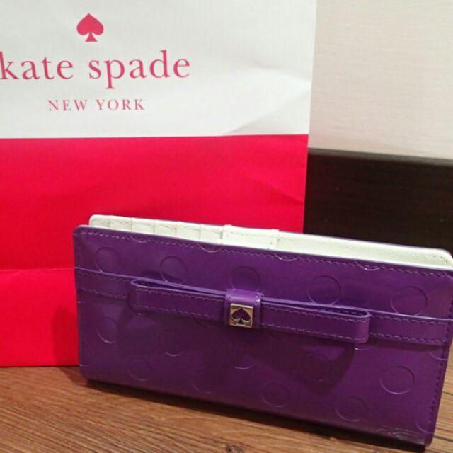 KATE SPADE 圓點壓紋亮面漆皮長夾葡萄紫