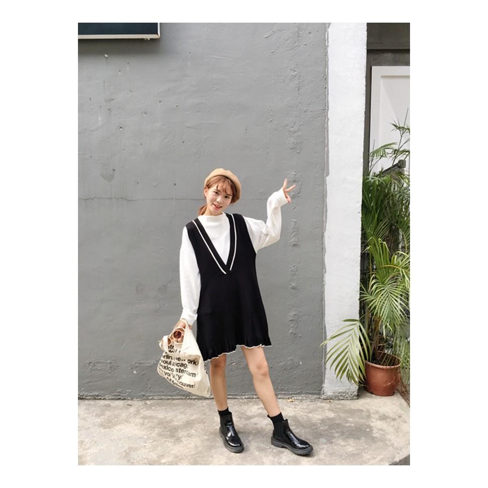 韓國風顯瘦小荷葉黑色針織毛線背心裙洋裝H09