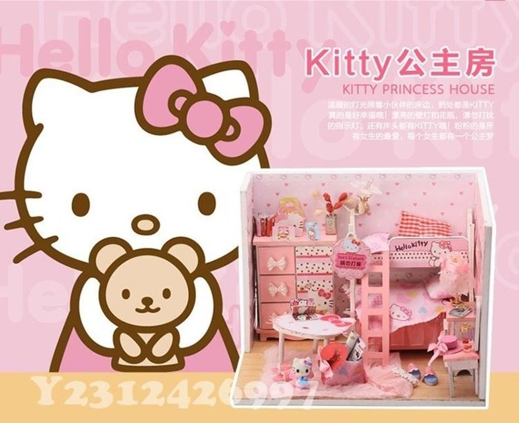 ~DIY 小屋~Hello Kitty 公主房袖珍模型屋玩具娃娃屋 藝材料包