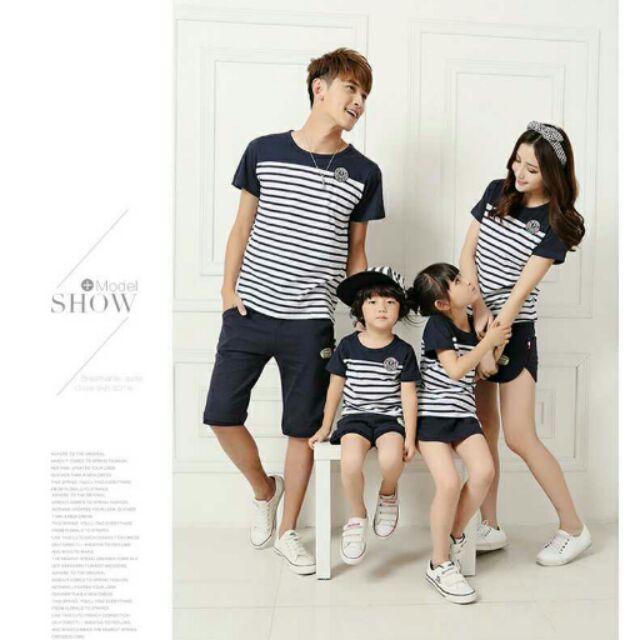 韓國 小清新條紋紅藏青親子裝情侶裝全家裝女童男童中性中大童夏款休閒純棉t 恤