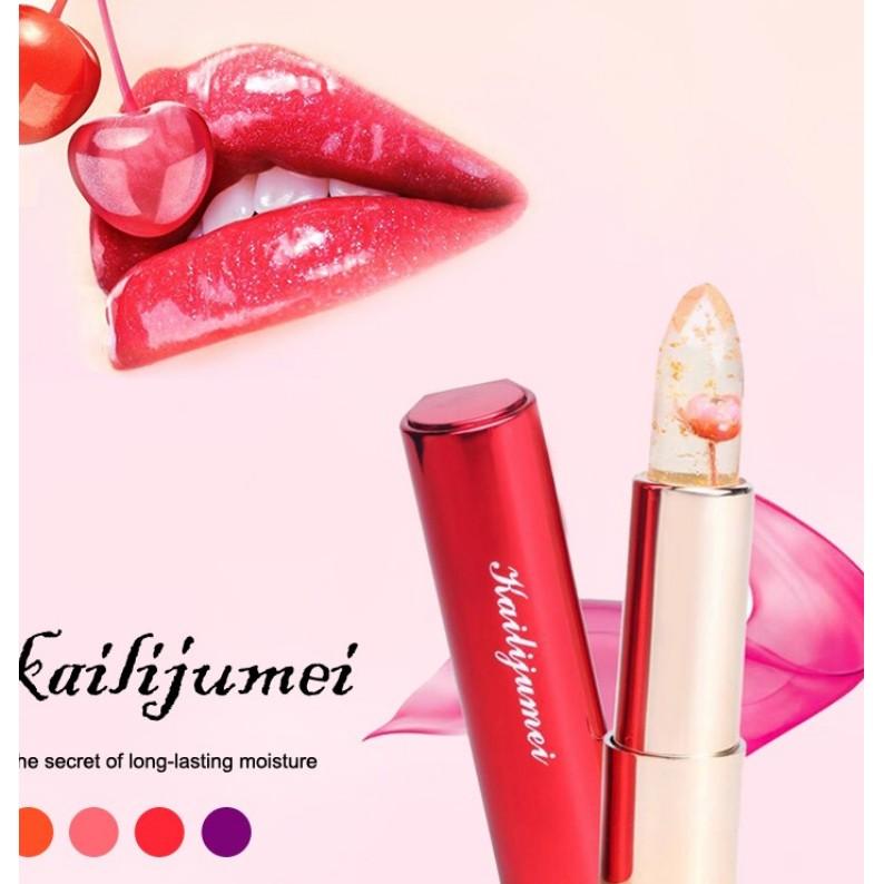100 正品凱莉聚美帶鏡子滋潤保濕透明鮮花變色果凍口紅變色唇膏