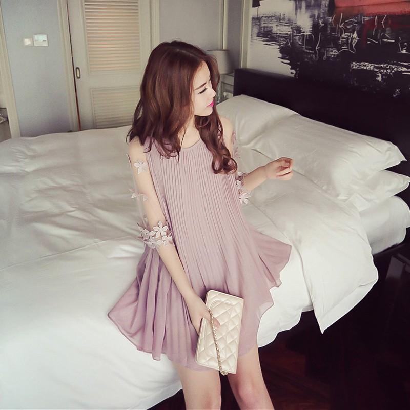 寬松大碼a 字裙雪紡洋裝短款純色百褶小清新連衣裙正韓洋裝