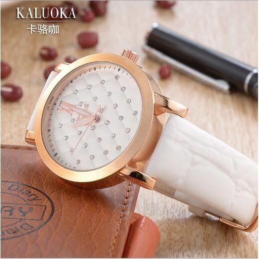 女款腕錶2037 手錶女士 潮流鑲鑽腕錶防水真皮石英皮帶女錶
