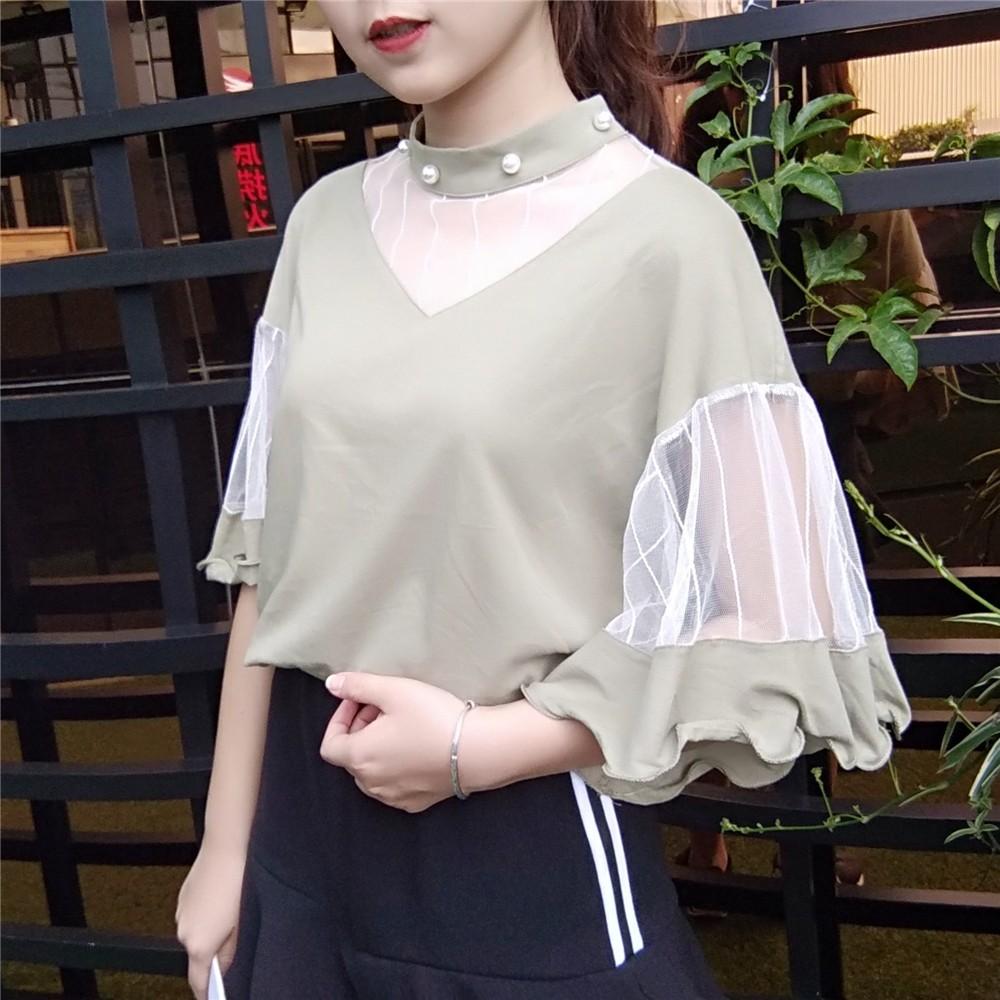 2017 春夏 寬松燈籠中袖荷葉邊襯衫百搭韓範