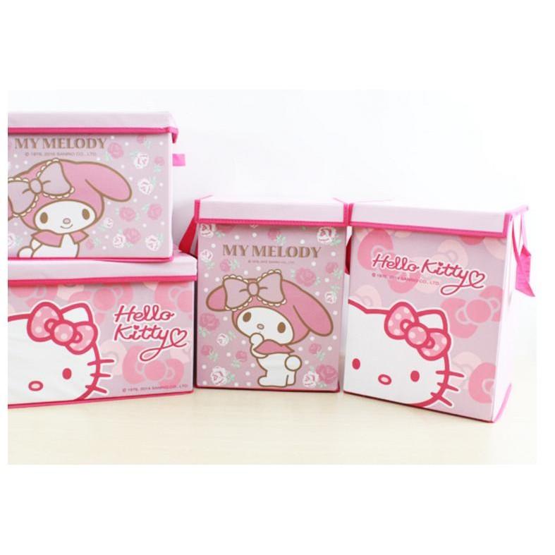 直式美樂蒂kitty 折疊箱有蓋收納箱盒Melody 衣物置物箱