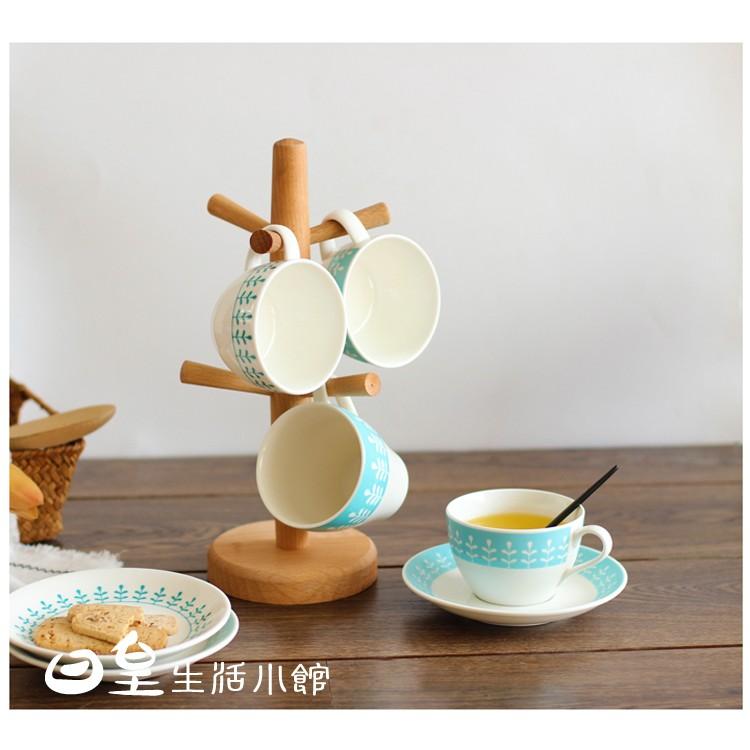 【天天】日式杯架掛杯架日式實木廚房置物架水杯掛架廚房收納架木質加厚底座杯架