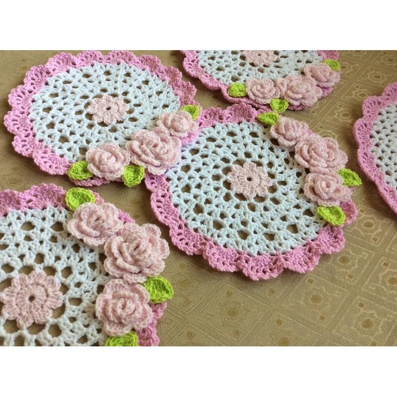 完全手作編織日式甜美風溫馨家飾系列玫瑰花圓形家飾墊桌墊杯墊隔熱墊餐墊置物墊直徑15 公分可