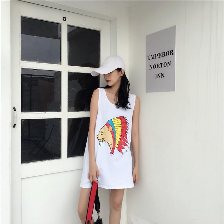 【 價 】實拍實價 寬鬆舒適清新可愛活潑大碼 潮流百搭學生女生衣著 前後印花背心9257